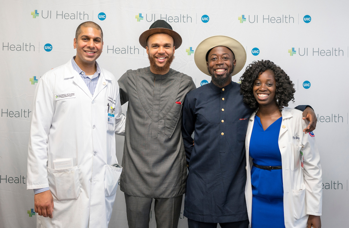 Dr. Santosh Saraf, Jidenna, Nana Kwabena, and UIC medical student Ama Baffoe-Barrie