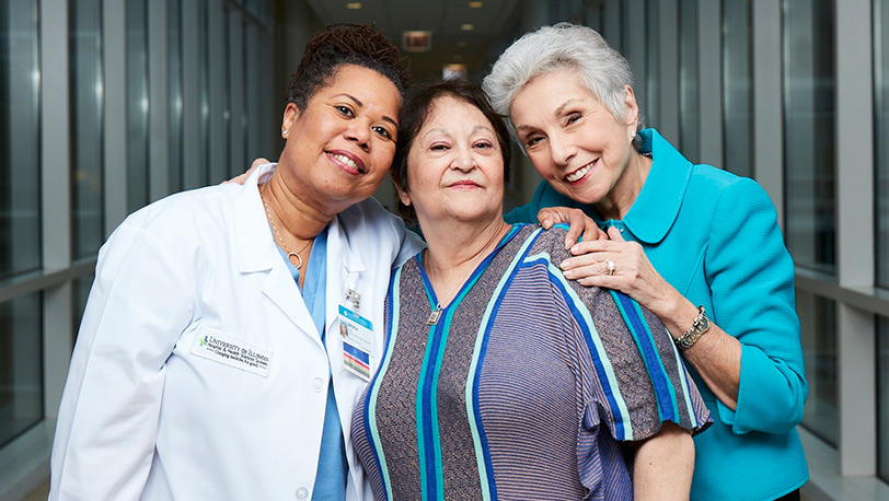 Dr. Sandy Goldberg with Brenda Owens and a patient